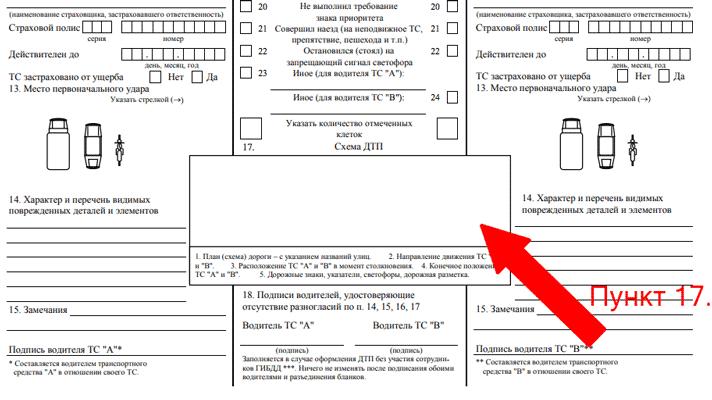Как нарисовать схему в извещении о ДТП?